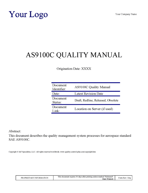 Examples of quality control plan templates quality for Free quality control manual template